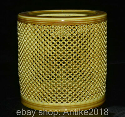 "5.6"" Marked Old Chinese Yellow Glaze Porcelain Dynasty Hollow Pencil Vase"