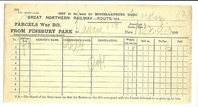Great Northern Railway, GNR Parcels Way Bill, dated 1900 ?