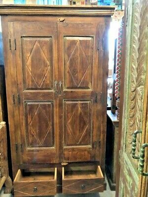Antique Armoire Farmhouse Rustic Brown EARTHING WOOD BOHO Carved STORAGE CABINET