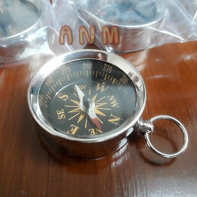 Lot Of 25 Brass Nickle Plated Nautical Compass 35 mm HANDMADE STYLE SOLID GIFT