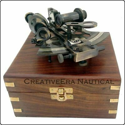 Brass Sextant with Box, Nautical Maritime Gift, Navigational Collectible SOLID