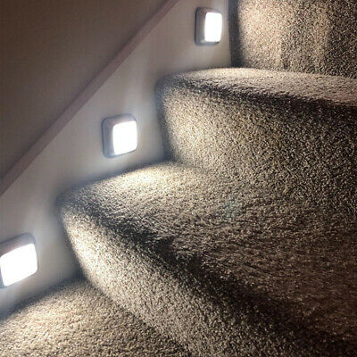 LED Motion Sensor Night Light Indoor Outdoor Battery Operated Stairs Hallway