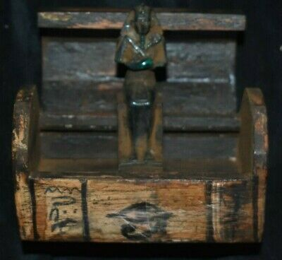 "Sale!! Egyptian Crypt Old Kingdom Ushabti W/Box, Glyphs 5"" Prov"