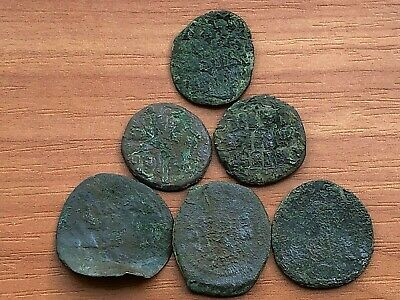 Lot of 6 Ancient Byzantine Medieval Bronze Coins AE Follis /  Low quality