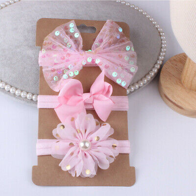 3Pcs/Set Baby Newborn Photography Lace Flower Bow Headband Hair Accessories
