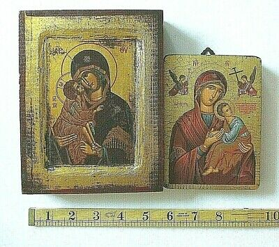Antique Russian Icon Holy Mother on Wood Small