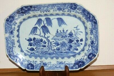 Antique Chinese Blue And White Porcelain Dish Kangxi Period