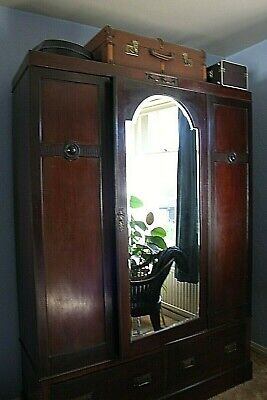 Victorian Mahogany Wardrobe Large Single Mirrored Door Two Drawers Single Rail