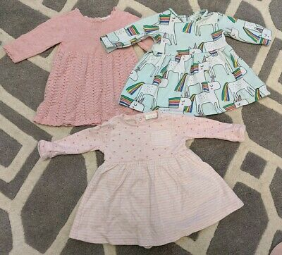 Baby Girl Next 0-3 Months 3 x Long Sleeved Dress Bundle Knitted Unicorn Free P&P