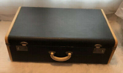 Fabulous Vintage1930s Horn Blue Train Case Bakelite Handle Suitcase Luggage Wow