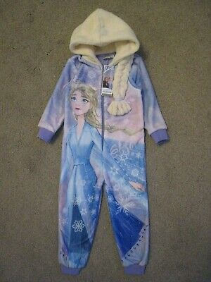 Bnwt F&F Disney Frozen 2 Toddler Girls Elsa All In One Fleece Pyjamas 7-8 Years