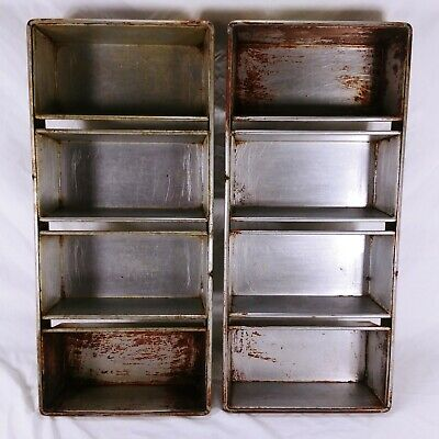 Chicago Metallic 91-4 Bakery 4 Strap Section Bread Loaf Baking Pans Lot Of 2