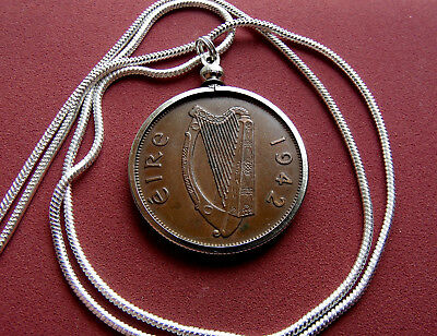 """Irish Reindeer Celtic 33mm Coin Pendant 24/"""" White Gold Filled Round Snake Chain"""