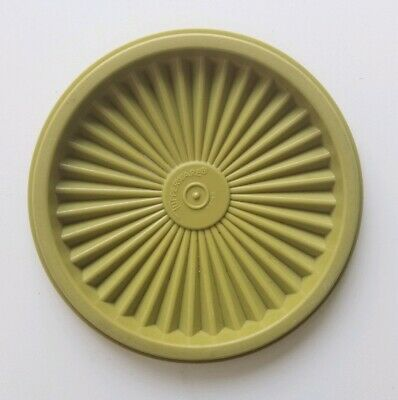 """Tupperware #812-45 Plastic 5"""" Round Green Servalier Replacement Lid Only Circle"""