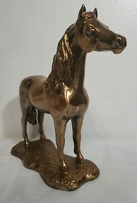 "Large 12"" Brass Bronze Horse Figurine Statue Heavy Signed"