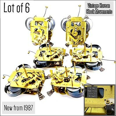 Lot of 6 Vintage Korean Clock Movement Tae Yang Lot L23 Untested Bought New 1987