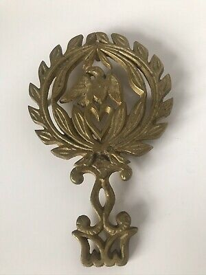 Vintage Solid Brass American Eagle Wreath Heart Footed Trivet 8.5""