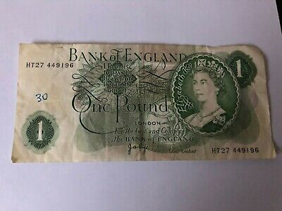Bank of England £1 Note 1970 - 78 Page