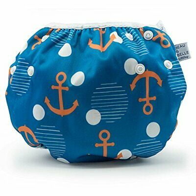 Large Nageuret Reusable Swim Diaper, Adjustable & Stylish Fits (Anchors)
