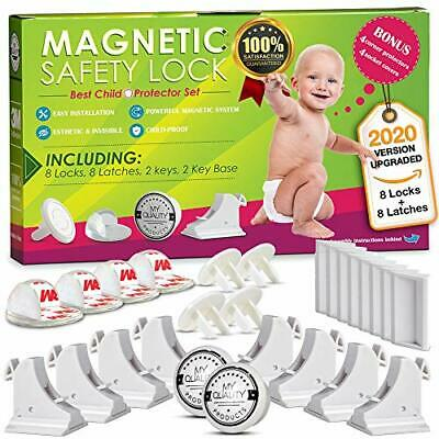 Invisible Magnetic Cabinet Locks Child Safety Kit, Secure Kitchen & Bedroom