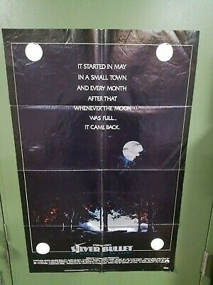 1985 SILVER BULLET One Sheet Poster Gary Busey STEPHEN KING WEREWOLF HORROR