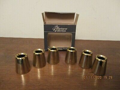 """Vintage Lot Of 6 Solid Brass Candle Followers """"The Connoisseur Collection In Box"""