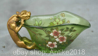 "3.6"" Rare Marked Old China Colored Glaze Dynasty Pixiu Beast Flower drinking cup"