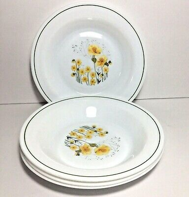 """Set of 4 Arcopal Soup Bowls White w Yellow Flowers 8.5"""" Salad Dishes France"""