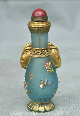 "4.4"" Marked Old China Colored Glaze Dynasty Sheep Head Flower Snuff Bottle"