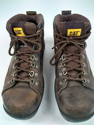 Men's Caterpillar Steel Toe Brown Leather Work Safety Boot Size 9.5