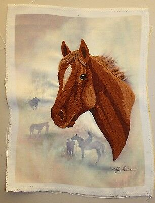 Horse Head Brown Crewel Embroidery Completed Finished Unframed
