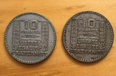 Two France Silver 10 Franc 1932 & 1934