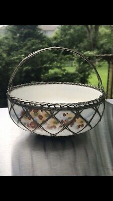 Antique Japanese Awaji Porcelain Bowl Basket Woven Silver Plate Overlay Wire