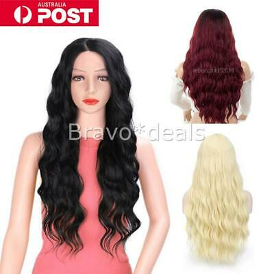 Fashion Cosplay Costume Long Full Hair Wavy Curly Wig Wigs Women Girls Black Red