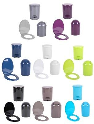 Coloured Universal Toilet Seat Or Bins Easy Clean Oval Shape Plastic Bathroom WC