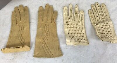 Lot of 2 Pairs of Vintage Kid Leather Gloves