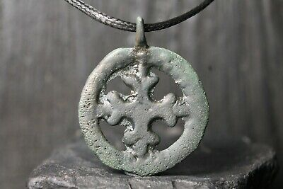 Rare Ancient Viking Bronze Orthodox Cross, Antique Pendant, 9-11th Century AD.