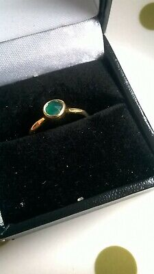 Antique Sterling Silver Gilt Ring with Emerald Coloured Stone London1892 size N