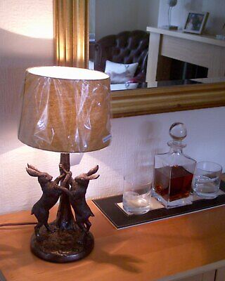 17in Rabbit/Hare table lamp + Ochre shade Bronze Effect Resin Fox/Stag/Duck NEW