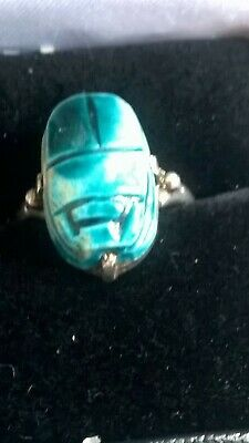 Antique Vintage Unmarked 925 Silver Egyptian Revival Scarab Beetle Ring
