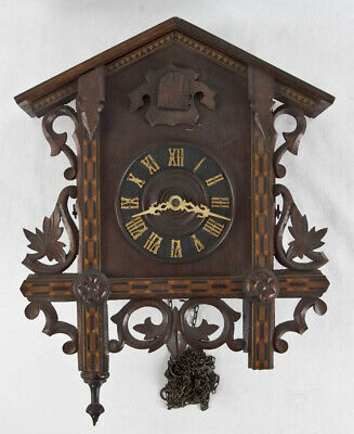 German Black Forest inlaid cuckoo clock @ 1890 Nice Project
