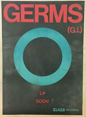 GERMS rare orig 1979 FULL PAGE PRINT AD, LA KBD PUNK, DARBY, SLASH 11x15 inches