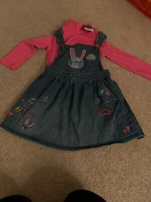George At Asda 12-18 Months Girls Denim Pinafore/t Shirt Top New With Tags