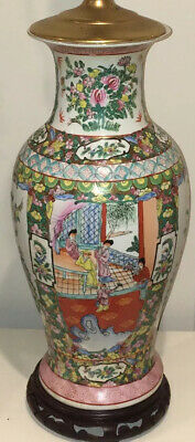 """Hand Painted Vintage Chinese Porcelain Lamp Floral Colorful Brass & Wood BIG 33"""""""
