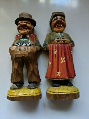 Hand Carved Pair of Farmer and his wife Wood Figurine from Germany