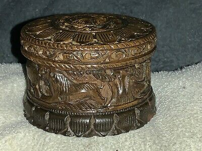 A Carved Vintage Small Circular Box Floral Top and Frieze of Wild Animals