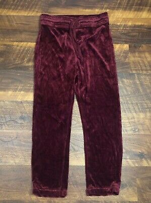 Mother Denim The LOUNGER Burgundy Red Velour Ankle Pull On Drawstring Waist pant