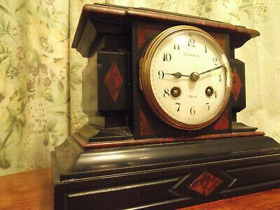 Antique slate / red marble clock . good design