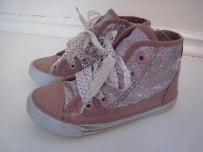 F&F Tesco Baby Toddler Girls Sparkly Pink Glitter Trainers Shoes - Uk7