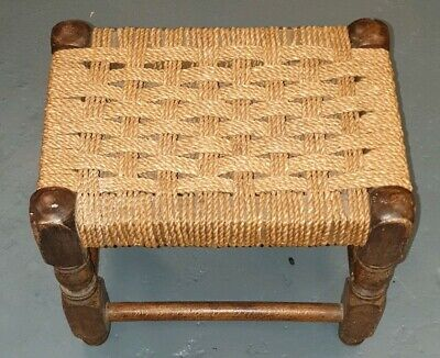 Vintage Handcrafted Wooden Small Stool ~ Rattan Seat